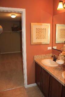 Superb Peach Bathroom With Fun Silver Wall Hanging. With Georgia Decor. Idea