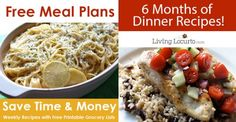 Free Money Saving Weekly Meal Plans. Printable Plans with family recipes & a grocery List. LivingLocurto.com