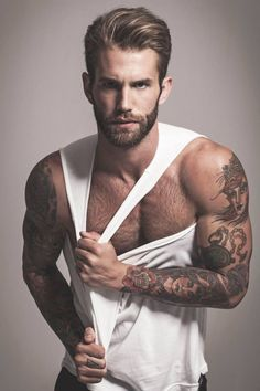 Handsome beardy preppy tatted hunk