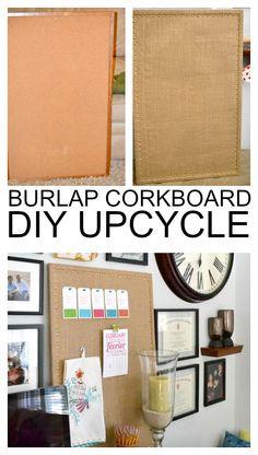 Fun DIY Cork/Message board upcycle tutorial. Ballard Design knockoff burlap memo board for a few bucks. Great decor idea.