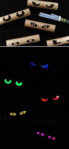 Ojos aterradores con papel de baño Utiliza los cartones de papel de baño y luces neón para crear ojos aterradores. Es súper rápido y fácil.