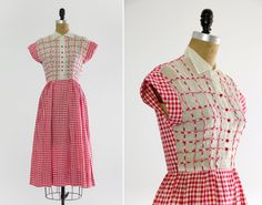 vintage 1930s day dress  red gingham dress  1930s by MoonRevival