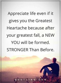 life quotes Appreciate life even if it gives you the GREATEST HEARTACHE because after your greatest fall, a NEW YOU will be formed. STRONGER Than Before.