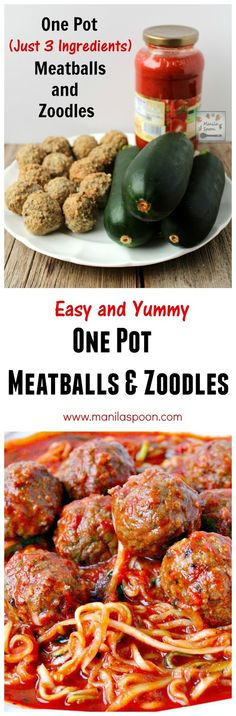 Use left-over or store bought meatballs to make this quick, easy and super-yummy 3-ingredient One Pot Meatballs and Zoodles (Zucchini Noodles).  Gluten-free and healthy!