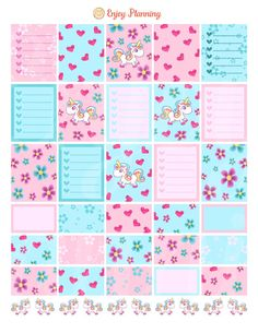 Unicorns Printable Planner Stickers Checklist Unicorns planner Stickers Weekly…                                                                                                                                                                                 More