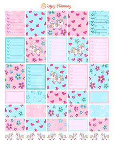 Unicorns Printable Planner Stickers Checklist Unicorns planner Stickers Weekly…