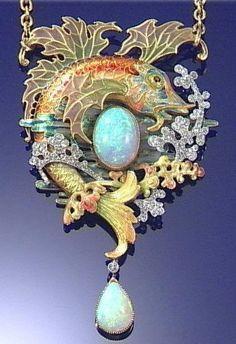 Art Nouveau, Belle Epoque, and Edwardian Jewelry ~ Wagner Raouldiaz opal and diamond pendant, c. Enamel Jewelry, Opal Jewelry, Bling Jewelry, Jewelry Art, Antique Jewelry, Jewelery, Vintage Jewelry, Geek Jewelry, Edwardian Jewelry