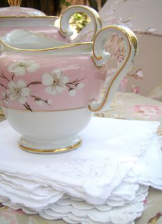 """Lovely little Tea Party using """"Royal Pettau"""" Germany US Zone china. Love how delicate and lovely it is!"""