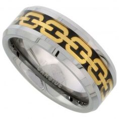 8mm Tungsten Wedding Band Gold Chain Link Inlay Beveled Edges Comfort fit, sizes 7 to 14