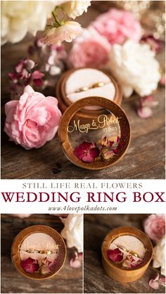 Totally handmade wooden ring bearer boxes with still life real flowers closed in resin lid. Small, elegant and adorable! Perfect detail for any wedding theme. Unique and delightful. #weddingideas #handmade #rusticwedding
