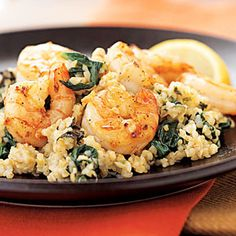 Lemon-Mint Bulgur Risotto with Garlic Shrimp. Oh yeah.