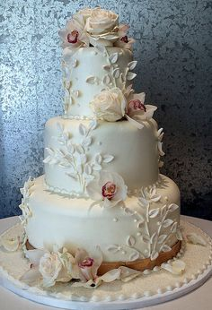 Orchid Leaf, three tier air brush sheen cake, sugar paste flowers and leaves