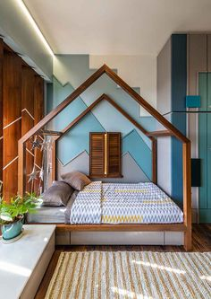 Architect Amit Shastri's Home Is Plush with Wood and Light - dress your home - best interior design Indian Bedroom Design, Kids Bedroom Designs, Room Design Bedroom, Modern Bedroom Design, Home Room Design, Kids Room Design, Bed Designs In Wood, Bathroom Designs, Furniture Design For Bedroom