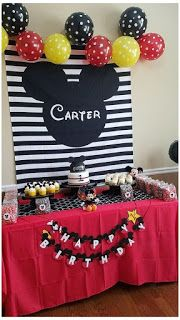 Mickey Mouse Backdrop, Mickey Mouse Theme Party, Mickey Mouse Birthday Decorations, Mickey 1st Birthdays, Fiesta Mickey Mouse, Mickey Mouse Clubhouse Birthday, Mickey Mouse Cake, Mickey Birthday, Mickey Mouse Centerpiece