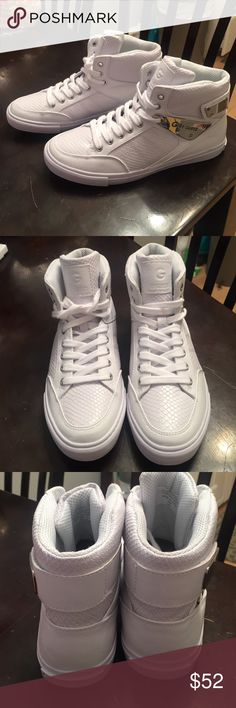 Guess White Hightops Brand new. G by Guess White Hightop Tennis Shoes. Silver Accents. Size 9 G by Guess Shoes Sneakers