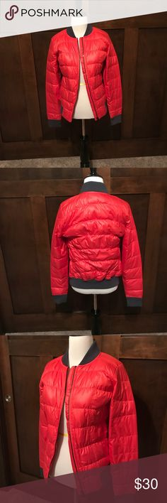 Coral Athleta Jacket! NWOT! Woman's XS Athleta jacket. Shell/lining is 100% Polyester. Filler is Goose Down! Excellent Condition. NWOT!! Has gray trim on sleeves, neck, and bottom of jacket! Athleta Jackets & Coats Puffers