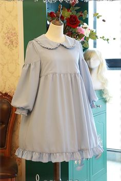 Sweet Solid Color Babydoll Style Long Sleeves Lolita OP Dress+Surface Dress Set - out Stylish Dresses, Simple Dresses, Pretty Dresses, Fashion Dresses, Little Girl Dresses, Girls Dresses, Cute Fashion, Kids Fashion, Casual Frocks