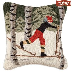 """Back Country Skier in Woods 18"""" Pillow - Chandler 4 Corners"""