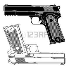 Dibujo técnico de un arma de fuego pistola 9 milímetros. Líneas precisas. Forma de arma no es distinto a cualquier otro fabricante en particular. A menudo se utiliza para representar el peligro, el asesinato, la violencia, la defensa militar, sí, la protección y armas de fuego cualquiera. Ilustración del vector. Vectores
