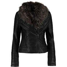 Boohoo Freya Faux Fur Collar Biker Jacket (€44) ❤ liked on Polyvore featuring outerwear, jackets, puffa jacket, puff jacket, puffy bomber jacket, motorcycle bomber jacket and faux fur collar bomber jacket