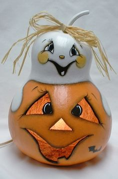 Light UP Jack-O-Lantern and Ghost Gourd Hand by FromGramsHouse