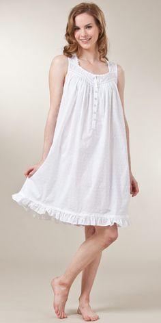 Sleeveless Swiss Dot Woven Cotton Short White Nightgown by Eileen West