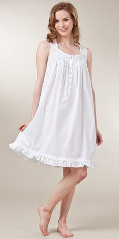 44dc48c44d Sleeveless Swiss Dot Woven Cotton Short White Nightgown..making my daughter  a matching one  )