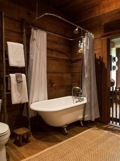 restored early american cottage bathroom with clawfoot tub, ladder towel rack, and original pine panels Clawfoot Tub Bathroom, Bathroom Renos, Cabin Bathrooms, Rustic Bathrooms, Rustic Cabin Bathroom, Cabin Homes, Log Homes, House Columns, Save For House