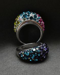 Awesome Crystal Clay Ring with Swarovski Crystal Chatons!!!!