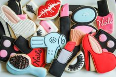 """1 dozen assorted makeup cookies 1 brush 1 hair brush 1 shoe 1 mascara 2 lip print 1 nail polish 2 lipstick 1 eye shadow 2 fake lashes DATE NEEDED: Please leave your event date in """"note to seller"""" during checkout. If no date is specified then your cookies will ship out between 10-12 days after the date of purchase. ****************************************************************************** CUSTOM LISTING: Need additional cookies, or would like to personalize cookies with name, age or me..."""
