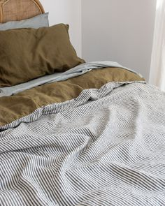 French Linen Bedding in Olive & Charcoal Stripe with a Sage Sheet Set. Beautiful Home Decor. Aesthetic Design. Bedroom Styling.