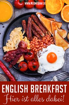 Breakfast in England? Here is everything you need for a full English breakfast! Spam Breakfast Recipe, Filipino Breakfast, Healthy Breakfast Snacks, Breakfast Platter, Breakfast On The Go, English Food, Sandwiches, Everyday Food, Restaurant Recipes