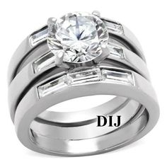 4.35 CT ROUND CZ SILVER STAINLESS STEEL WEDDING RING SET WOMEN'S SZ 5,6,7,8,9,10 #3pcSet