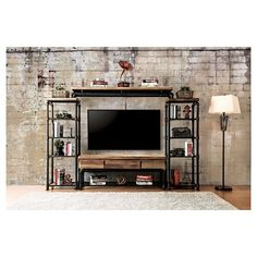 Sun & Pine Stonehedge Industrial Pipe Inspired 4pc Entertainment Console Antique Black : Target