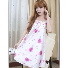 I love nightgowns!!!  Romantic Flower Comfortable Satin Sleepwear Rose $3.98