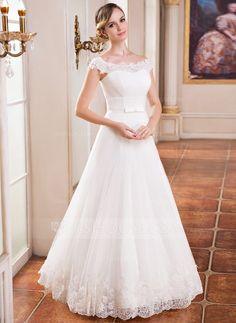 A-Linie/Princess-Linie Schulterfrei Bodenlang Tüll Brautkleid mit Rüschen Spitze Perlen verziert Pailletten (007041151) - JJsHouse