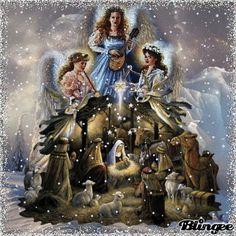 angel...winter fantasy 2 Merry Christmas Gif, Vintage Christmas Lights, Christmas Nativity Scene, Christmas Scenes, Retro Christmas, Christmas Angels, Winter Christmas, Animated Christmas Pictures, Gifs