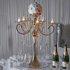 Tableclothsfactory Tall Gold Metal Candelabra Chandelier Votive Candle Holder Wedding Centerpiece - with Acrylic Chains Candle Holders Wedding, Metal Candle Holders, Candle Stands, Centerpiece Decorations, Flower Centerpieces, Wedding Centerpieces, Wedding Candelabra, Manzanita Centerpiece, Chandelier Centerpiece
