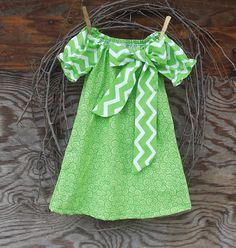 Girls Chevron Dress Peasant Dress Green and by SouthernSister2