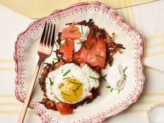 Root Vegetable Pancakes With Smoked Salmon, Eggs and Horseradish Cream