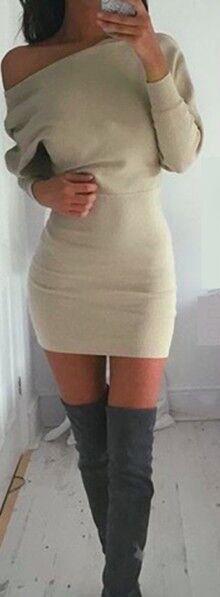 OTK boots & beige bodycon dress.