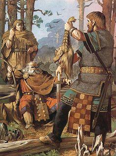 """Brian Boru, Irish warlord, being shown the head of a Viking, 11th century AD"", Angus McBride"