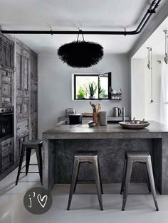 Love the rustic/industrial feel !!  @ Inspiring Grey Kitchen Via Si