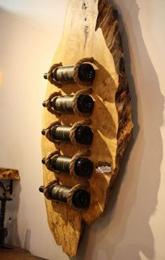 Canadian Green Bottle Rack From Wood Slab. Here is the concept: if solid wood modern furniture is well-made it can serve people for generations. Best Wood For Furniture, Rustic Furniture, Cool Wine Racks, Modern Wine Rack, Wine Rack Design, Deco Originale, Bottle Rack, Italian Wine, Wood Slab