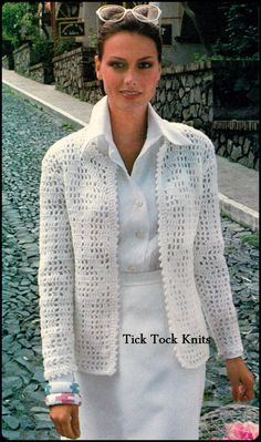 Classic PDF crochet sample to make a womans Filet Crochet Cardigan Jacket with picot trim. Circa Sample features a chart for working the filet crochet. Labored in sport weight yarn on a US Gilet Crochet, Crochet Coat, Crochet Cardigan Pattern, Crochet Jacket, Crochet Clothes, Vintage Crochet Patterns, Crochet Fashion, Jackets For Women, 1970s