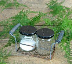 Salt and Pepper Jars in Rusted Metal Basket $13 - http://www.save-on-crafts.com/salt-and-pepper-jars-basket.html