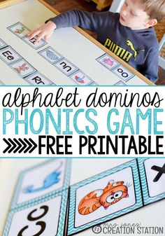 Beginning Sounds Phonics Game Alphabet Dominos - Free printable to use with beginner / emergent readers