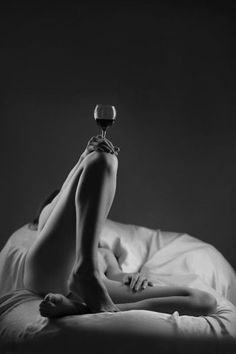 wine. woman. in bed. A(lmost)SFW