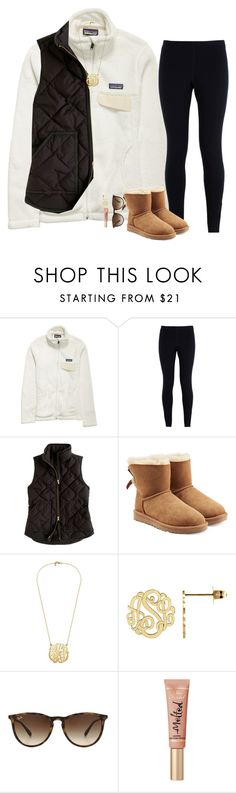 """Most if my sets r going to be fall from now on"" by pineappleprincess1012 ❤ liked on Polyvore featuring Patagonia, NIKE, J.Crew, UGG, Ray-Ban and Too Faced Cosmetics"