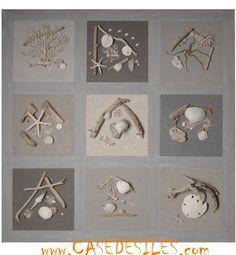 Tableau relief bois flotte : Tableau relief galet bois flotté 80cm Cendre: